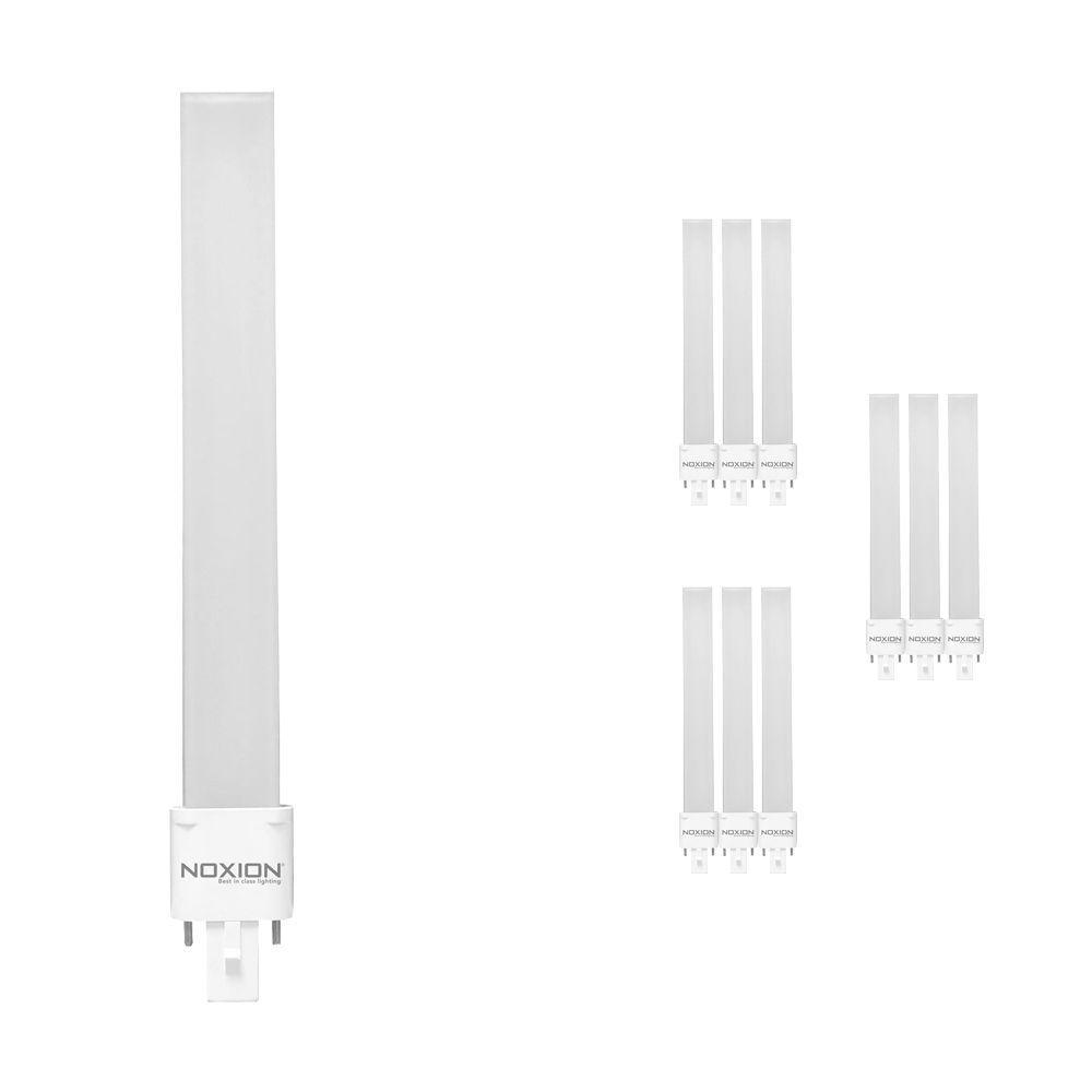 Monipakkaus 10x Noxion Lucent LED PL-S EM 6W 830 | Lämmin Valkoinen - 2-nastaa - Korvaa 11W
