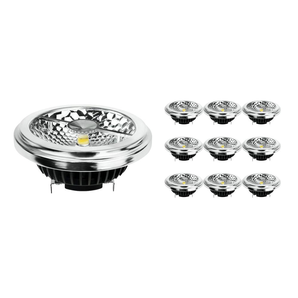 Monipakkaus 10x Noxion Lucent LED Kohdevalaisin AR111 G53 Pro 12V 12W 930 40D| Lämmin Valkoinen - Paras Värintois- Himmennettävä - Korvaa 50W