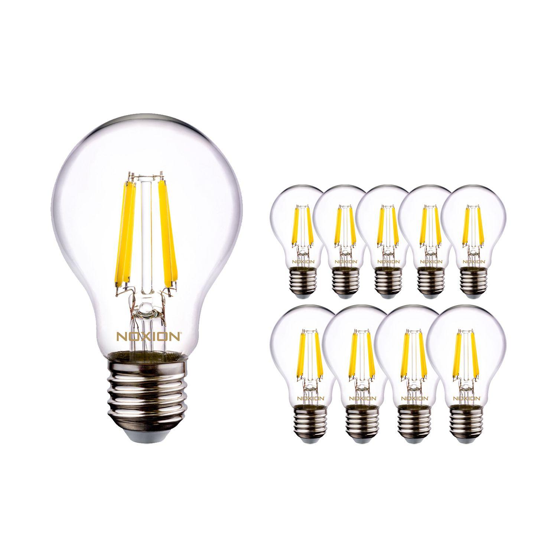Monipakkaus 10x Noxion Lucent Filament LED Bulb A60 E27 220-240V 7W 806LM CRI80 4000K ND (60W eqv.)