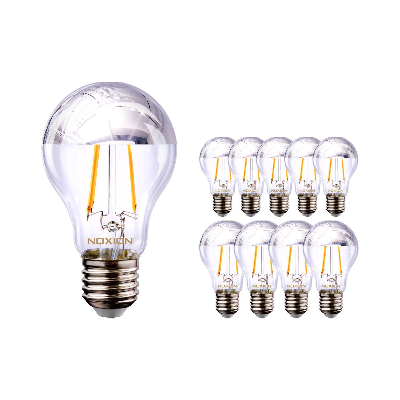 Monipakkaus 10x Noxion Lucent Filament LED Bulb hopea Mirror A60 E27 220-240V 7W 680LM CRI80 2700K ND (60W eqv.)