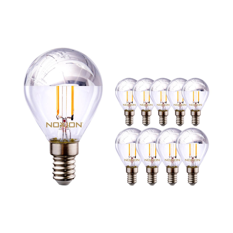 Monipakkaus 10x Noxion Lucent Filament LED Lustre hopea Mirror P45 E14 220-240V 4.5W 400LM CRI80 2700K ND (40W eqv)
