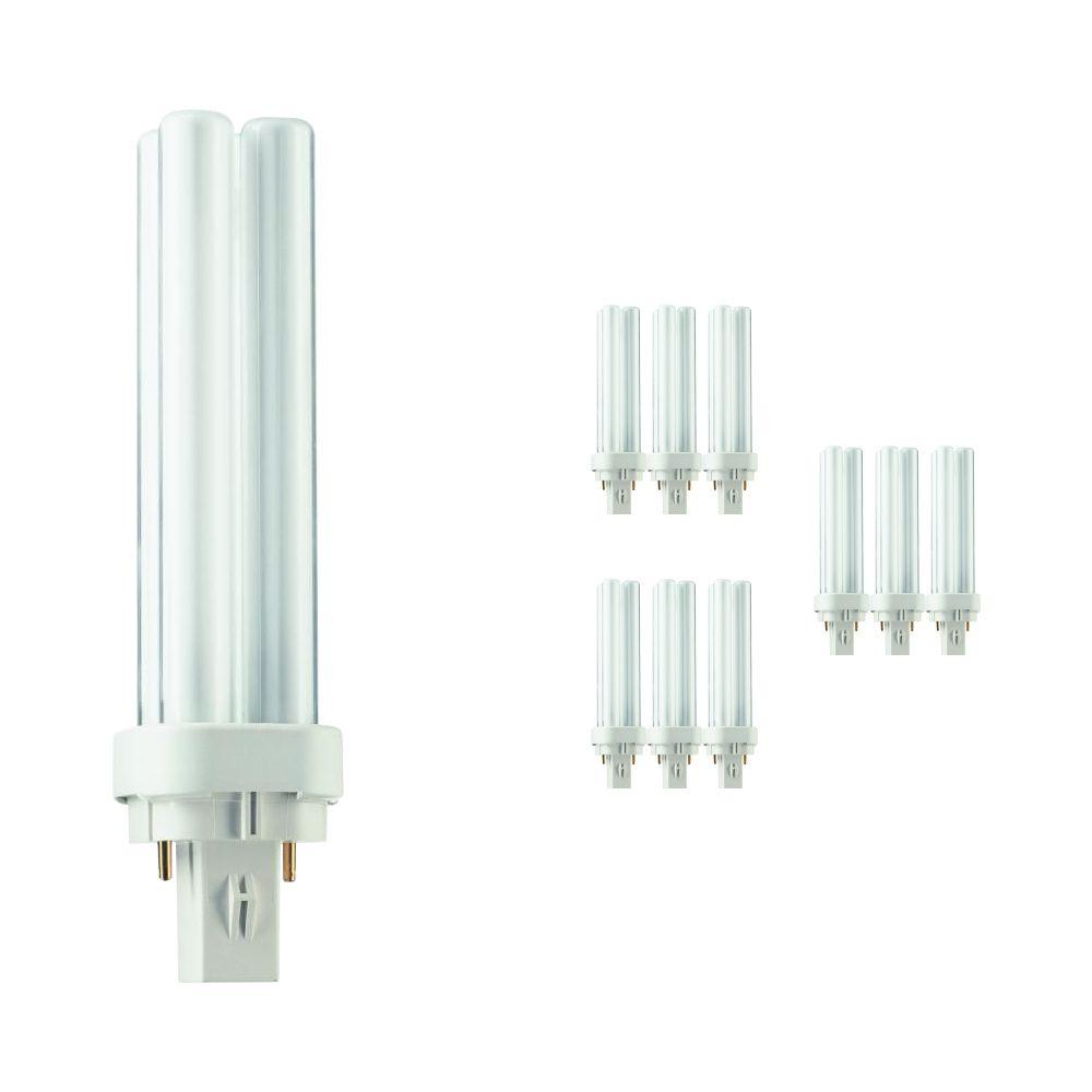Monipakkaus 10x Philips PL-C 13W 830 2P (MASTER) | Lämmin Valkoinen - 2-nastaa