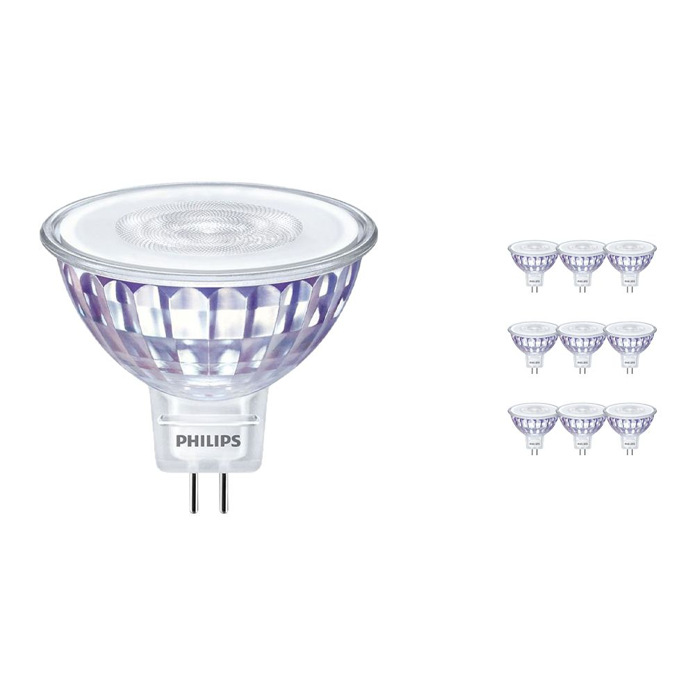 Monipakkaus 10x Philips LEDspot LV Value GU5.3 MR16 5.5W 827 60D (MASTER)   Erittäin Lämmin Valkoinen - Himmennettävä - Korvaa 35W