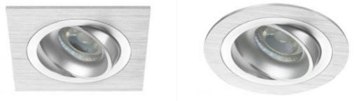 neliskulmaisia ja pyöreitä LED-spottivaloja